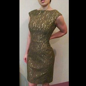 Byron Lars beauty mark olive green gold lace dress